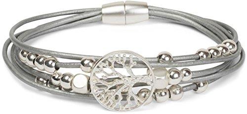 styleBREAKER Armband mit feinen Bändern, Lebensbaum Anhänger und Schmuckperlen, Magnetverschluss, Armschmuck,...