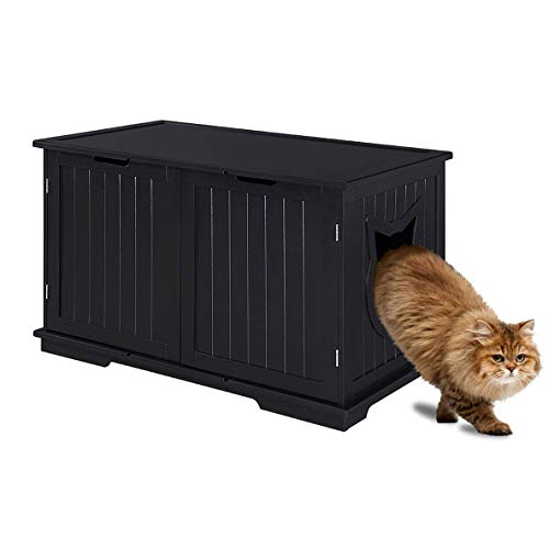 Sweet Barks X-Large Designer Cat Washroom Storage Bench Cat Litter Box Enclosure Furniture Box House with Table (Black)