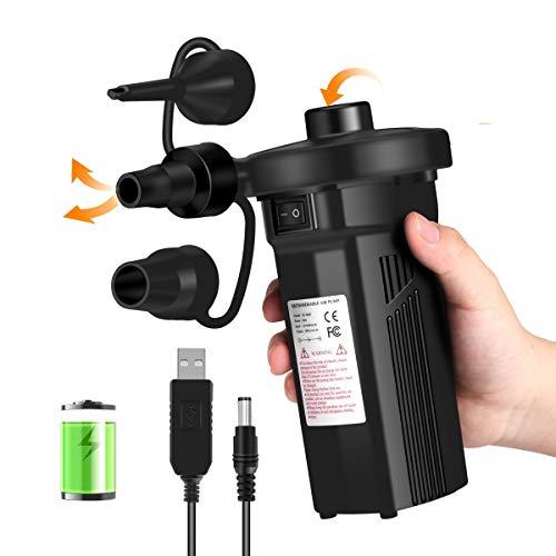 KNMY Elektrische Luftpumpe, 2 in 1 Inflator Deflator USB Wiederaufladbare Electric Pump Schnelles Inflate mit 3 Luftdüse Automatisches für Camping Aufblasbare Matratze, Matratze Pool, Schwimmring