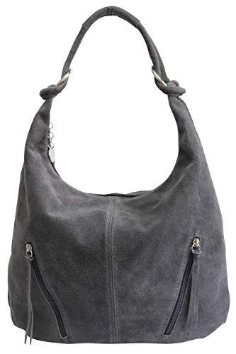 AMBRA Moda Damen Ledertasche Shopper Wildleder Handtasche Schultertasche Beuteltasche Hobo Tasche Groß WL822 (Anthrazit Grau)