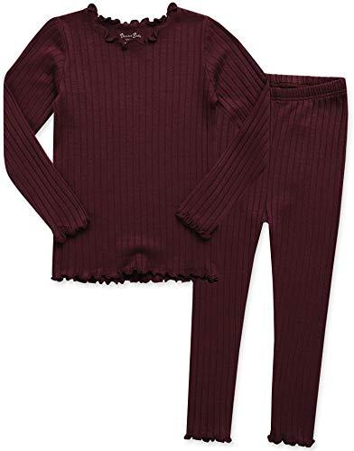 VAENAIT BABY Kids Girls Long Sleeve Modal Sleepwear Pajamas 2pcs Set Shirring Wine XS