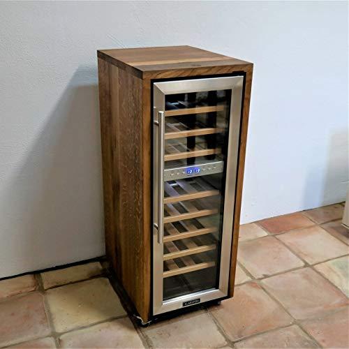 Frigorifero esclusivo per bottiglie di vino a 2 zone, realizzato con vecchie botti in legno (rovere) per un totale di 21 bottiglie, estremamente silenzioso e con rotelle