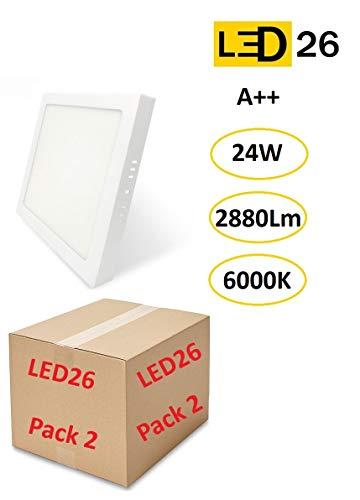 PACK DE 2 Plafones de Techo LED 24W 2880lm Blanco frío 6000k Cuadrado Superficie Panel LED Iluminacion Para Sala de Estar, Comedor, Dormitorio, Oficina, Tienda
