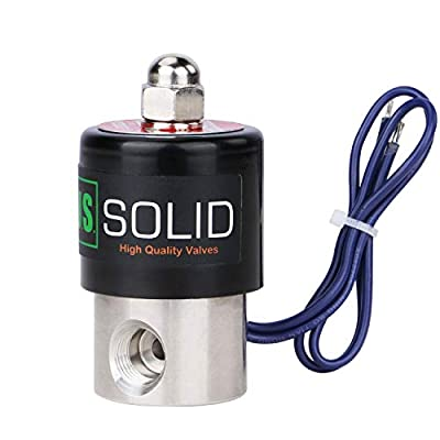"""U.S. Solid 1/4"""" Stainless Steel Electric Solenoid Valve 12VDC Normally Closed VITON"""