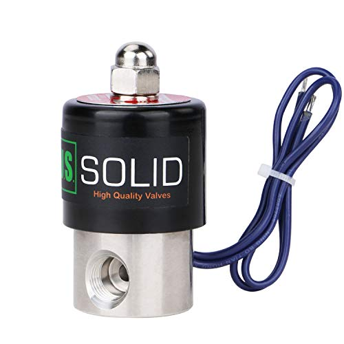 U.S. Solid 1/4' Stainless Steel Electric Solenoid Valve 12VDC Normally Closed VITON