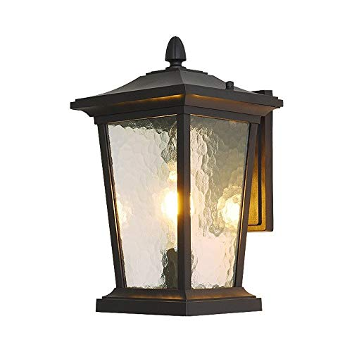 LERSS Luminaria de Pared for Exteriores Luminaria de Vidrio Martillado Negro Transparente Texturizado Exterior de la casa Porche de Metal Luminaria de Porche for Exteriores Luminarias LED