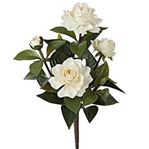 SilksAreForever 14″ UV-Proof Outdoor Artificial Gardenia Flower Bush -White (Pack of 6)