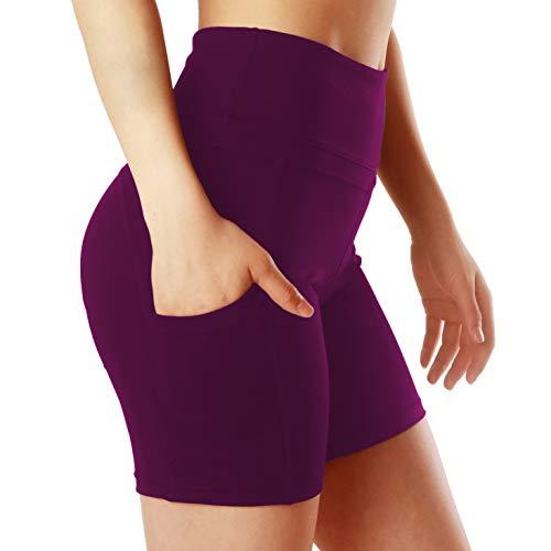 ChinFun Yoga Shorts for Women High Waist Tummy Control 4 Way Stretch Workout Running Shorts Side Pockets Purplish Red Size L
