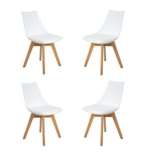 H.J WeDoo Pack 4 Tower sedie da Pranzo in Legno faggio, Tulip Sedie Design Stile scandinave Nordico con Cuscini in Finta Pelle - Bianco