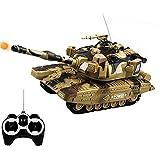 FXQIN 1:32 Militar RC Tanque de Batalla Pesado Grande Coche de Juguete de Control Remoto Tank Panzer Teledirigidos con Luz y Sonido, torreta giratoria vehículo Militar