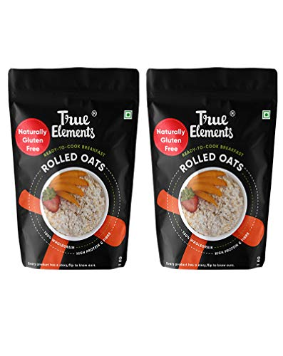 True Elements Rolled Oats for Weight Loss 2kg (1kg * 2) - Gluten Free Oats, Breakfast Cereal, Diet Food