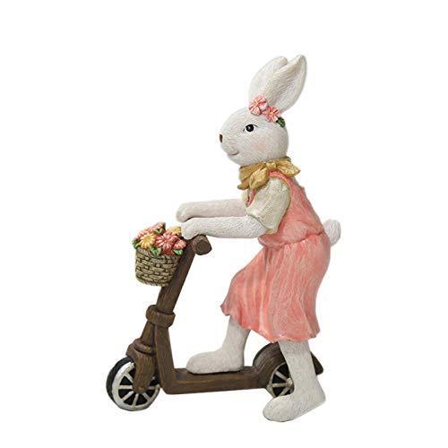 EUBEISAQI Adornos de Conejo de Pascua Adornos de estatuilla de Scooter Conejo Pareja artesanía de Resina para decoración de Mesa de Oficina en casa