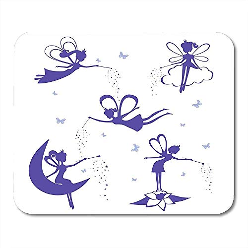 Zauberstab Schmetterling Cartoon Fee Silhouette der Blauen Feen Schablone Weiß Mädchen Engel Lustig Druck Rutschfeste Gaming Pads 30x25 CM