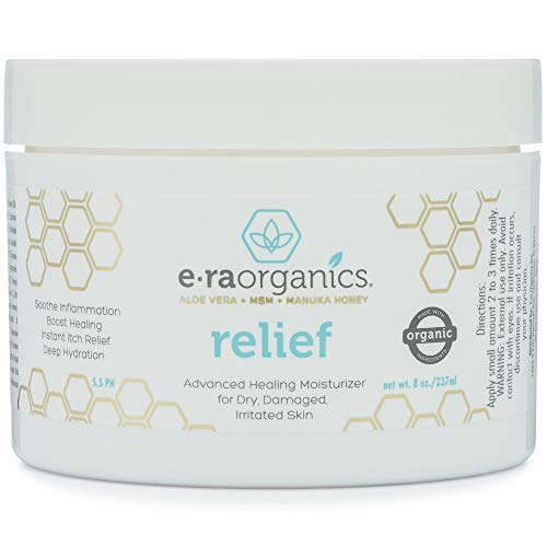 Era Organics Eczema, Psoriasis & Rash Cream - Extra Strength 15-in-1 Non-Greasy Soothing Moisturizer with Aloe Vera, Manuka Honey, Hemp Oil & More. Eczema Body Lotion for Dermatitis & Dry Itchy Skin