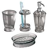 mDesign Juego de 4 Accesorios de baño en plástico – Set de baño con dosificador de jabón, jabonera, Porta cepillos de Dientes y Vaso para higiene bucal – para Lavabo y tocador – Gris Humo