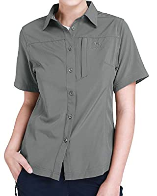 CAMEL CROWN Hiking Shirt Women Short Sleeve Outdoor Shirts with UV Protection for Work Outdoor Hiking Fishing