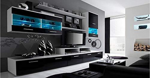 Home Innovation– Ensemble de Meubles, unité Murale, Meuble Bas TV, Sale a Manger, Ensemble de séjour Contemporain avec ilumination LED, Blanc Mate et Noir Laqué, 250x194x42 cm