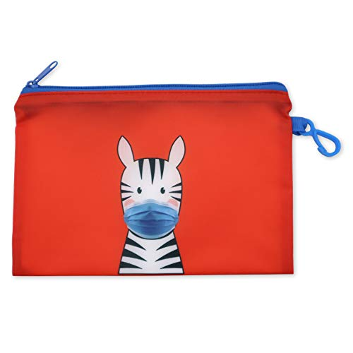 Product Image of the Zebra Mask Storage Pouch and 10 Disposable Masks by ICU Health – Adorable...