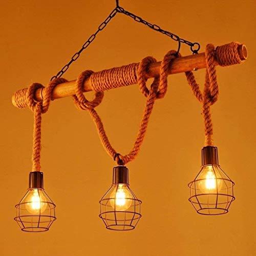 Araña retro creativo mesa de comedor lámpara colgante ajustable restaurante colgante luz de cuerda decoración de cuerda bambú tubo colgante lámpara 3 cabezas hierro jaula grande
