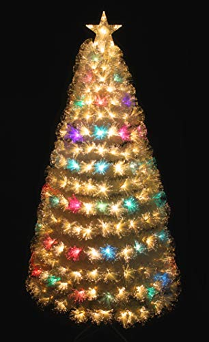 HOLIDAY STUFF Pre-lit Warm White & Color Changing LED Fiber Optic White Christmas Tree (4ft)