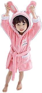 ZXJ Niñas Bata, Niños Coral Velvet Albornoz Espesar niños Franela Bata para los Bebés Niños Niñas,Rosado,110