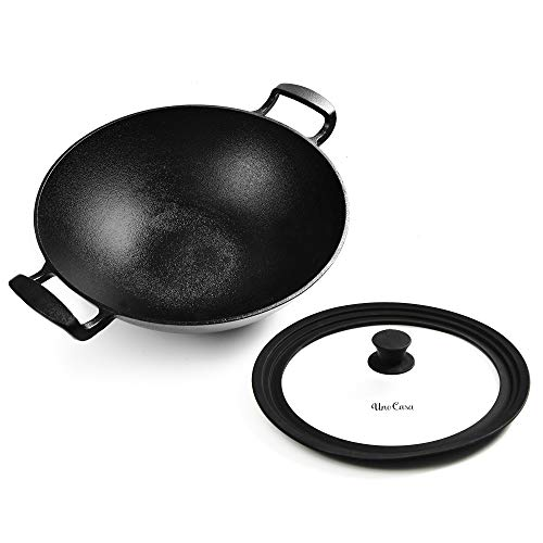 Uno Casa Cast Iron Wok Pan - Heavy Flat Bottom Wok with Silicone Lid - 12 Inch, 5.2 Q, 8 lb.