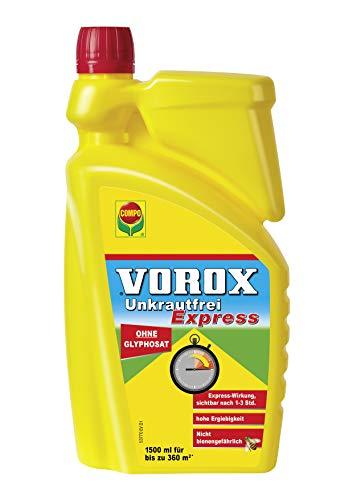 VOROX Unkrautfrei Express, Bekämpfung von Unkräutern an Zierpflanzen, Obst und Gemüse, Konzentrat, 1,5 Liter