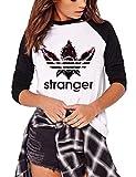 Camiseta Stranger Things Niña, Stranger Things Camisetas de Manga Larga Impresión de Cartas Adolescente Chicas T-Shirt Camisa de Otoño e Invierno y Tops Manga Larga Estampado Camiseta (1,L)