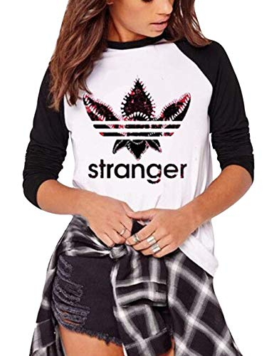 Camiseta Stranger Things Niña, Stranger Things Camisetas de Manga Larga Impresión de Cartas Adolescente Chicas T-Shirt Camisa de Otoño e Invierno y Tops Manga Larga Estampado Camiseta (1,L)