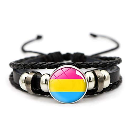 DDyna Orgullo Gay Hebilla de Cristal Pulsera con Encanto Bandera del Arco Iris Joyería Gay Hecho a Mano DIY Pulsera de Cuero Negro con Tejido de Cuentas - Multicolor