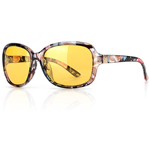 SIPHEW Oversized Night Driving Glasses for Women, Anti-glare Night Vision Polarized Yellow Lenses Relieve Eyes Strain