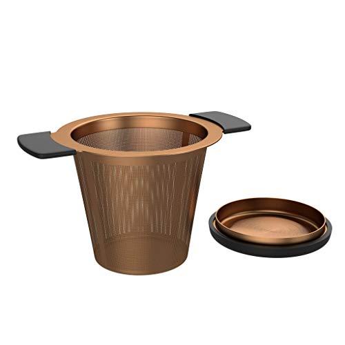 BonVivo Puri Teesieb aus Edelstahl, Praktisches Teesieb für Teekanne oder Tasse, Hochwertiger & funktionaler Teefilter für losen Tee, Teefilter mit Deckel im Kupfer-Look