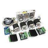 RATTMMOTOR Kit de controlador de motor paso a paso de 4 ejes, 1,8 Nm (doble onda) 57/Nema 23 Stepper Motor y controlador TB6560 MD430 y 350 W 24 V fuente de alimentación para fresadora CNC