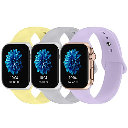 iGK Compatible with Apple Watch Band 42mm 44mm, Soft Silicone Sport Straps Replacement Bands Compatible for iWatch Series 5/4/3/2/1, Small Lavender, Yellow, Gray