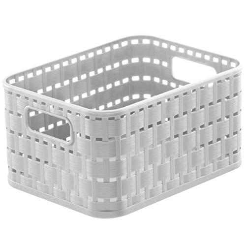 Rotho Country Cestino di stoccaggio 2l in rattan-look, Plastica PP senza BPA, Bianco(Vischio), A6/2l 18.3 x 13.7 x 9.8 cm