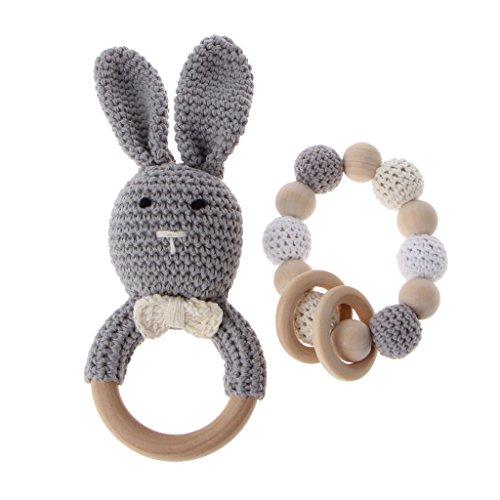 Dabixx 2Pieces / Set Baby Holz Beißring Armband Häkeln Häschen Beißring Kauen Spielzeug grau