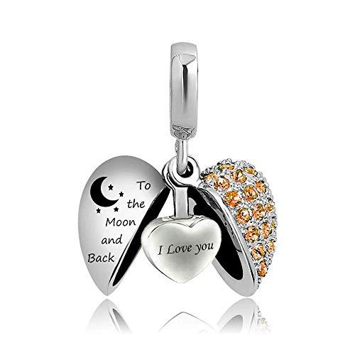Ember Hanger Hartvormige Kristallen Ketting Crematie Urn Ketting, As Prachtige Souvenir Sieraden (Inclusief Ketting/Pin/Trechter Set),Orange