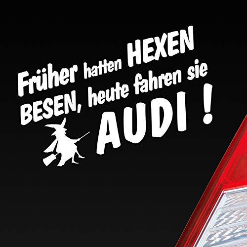 Auto Aufkleber in deiner Wunschfarbe Frueher Hatten Hexen Besen Heute Fahren Sie für Audi Fans 19x10cm Sticker.