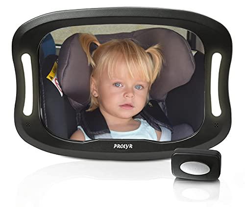 Prolyr Espejo retrovisor coche bebé LED - Espejo asiento trasero coche para bebé, Luz LED, Seguro, Irrompible, Mando a distancia, Fácil instalación, Universal, Rotación 360°, Nuevo diseño (Negro)