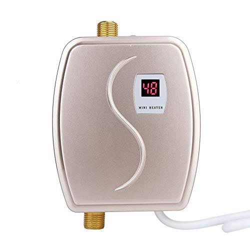 Durchlauferhitzer 220V 3800W Mini Warmwasserbereiter mit Digitalanzeige Haushalts Sofortpropan Warmwasserbereiter für Küche/Bad/öffentliche Toilette - Wandmontage (EU-Stecker)(Golden)