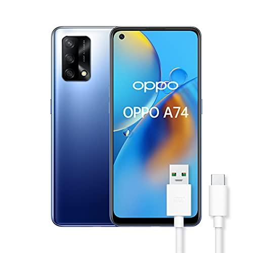 OPPO A74 Smartphone, 175g, Display 6.43  AMOLED, 4 Fotocamere 48MP, RAM 6GB + ROM 128GB, Batteria 5000mAh, Ricarica rapida, Dual Sim, con cavo dati OPPO Tipo-C, [Versione Italiana], Midnight Blue