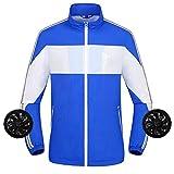 Z.L.FFLZ Cooling Jacket Summer Fan Cooling Jacket Men Women Intelligent Air Conditioning Clothes Sun Proof Outdoor Sports Coat P917 (Color : E Blue, Size : XXXL)