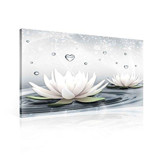 Blumen Lotus Wasser Tropfen Herzen Weiß Leinwand Bilder (PP2523O6FW) - Wallsticker Warehouse - Size O6 - 80cm x 60cm - 230g/m2 Canvas - 1 Piece