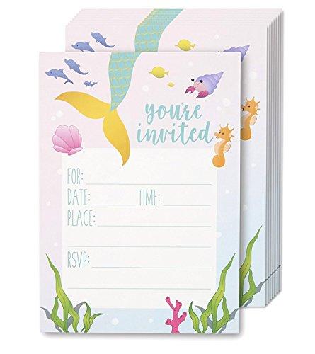 Juvale Einladungskarten Meerjungfrau (Set, 24 Stück) - Vordruck auf Englisch, Zum Ausfüllen, Briefumschläge Inklusive - Perfekt für Kindergeburtstag und Kinderpartys - Rosa/Hellblau, 12,7 x 17,8 cm