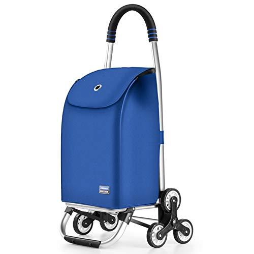Carro De La Utilidad Carrera De Compras 2 Ruedas, Cable De Bungee Ajustable con Bolsa Aislada Extraíble, Bolsas Plegables De La Colgante De La Colgante Púrpura (Color : Blue)