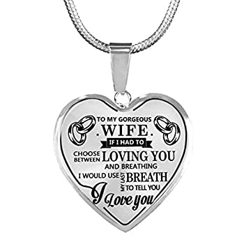 ZXOTTY to My Gorgeous Wife I Love You Luxury Silver Necklace Heart Shaped Anniversary Birthday Wedding Gift for Her