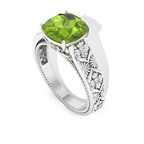 Rosec Jewels 14 quilates oro rosa cojín round-brilliant-shape H-I Green Diamond Peridoto creado en laboratorio