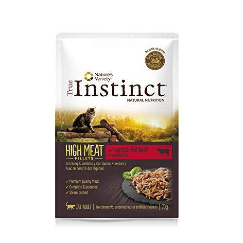 True Instinct High Meat Adult - Nature\'s Variety - Filetes con Buey para Gatos 70gr - Pack de 8