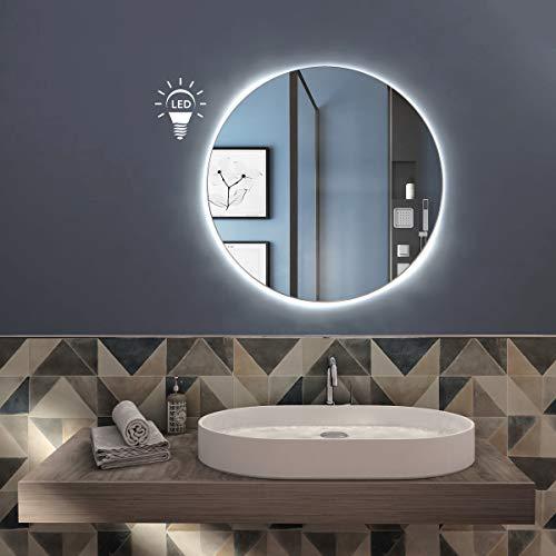 styleglass Specchio Bagno Tondo Personalizzabile Retroilluminato a LED RUBLO, Diamentro 60 cm, Specchio Parete,Spessore Vetro 3mm, Kit Fissaggio Murale Incluso, Grado di Protezione IP20