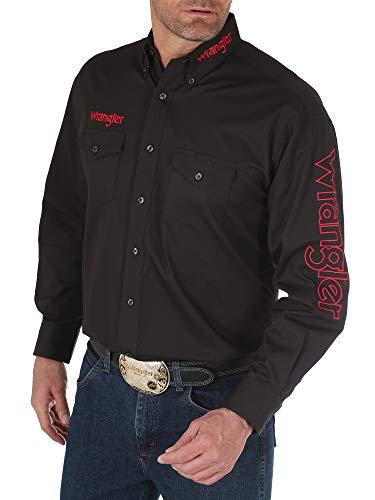 Wrangler Men's Long Sleeve Western Logo Button Shirt, Black, XX-Large
